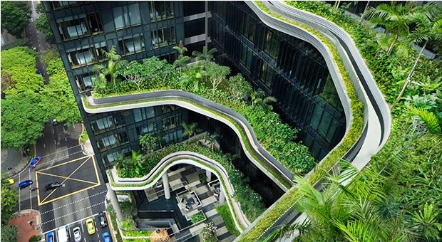 Terrazas del hotel Parkroyal de Singapur diseñado por Whoa