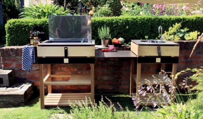 Cocina al aire libre de COQ  modelo blanco y madera
