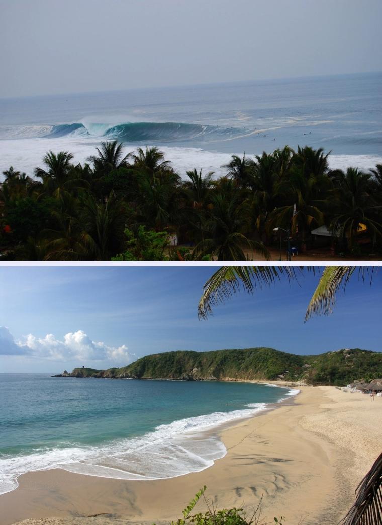 En la parte superior playa Zicatela y debajo playa Mazunte ambas en el estado de Oaxaca, México